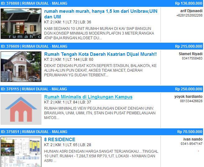 daftar harga rumah di malang