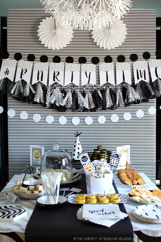 emoji birthday party food ideas, partytime banner, emoji party decor