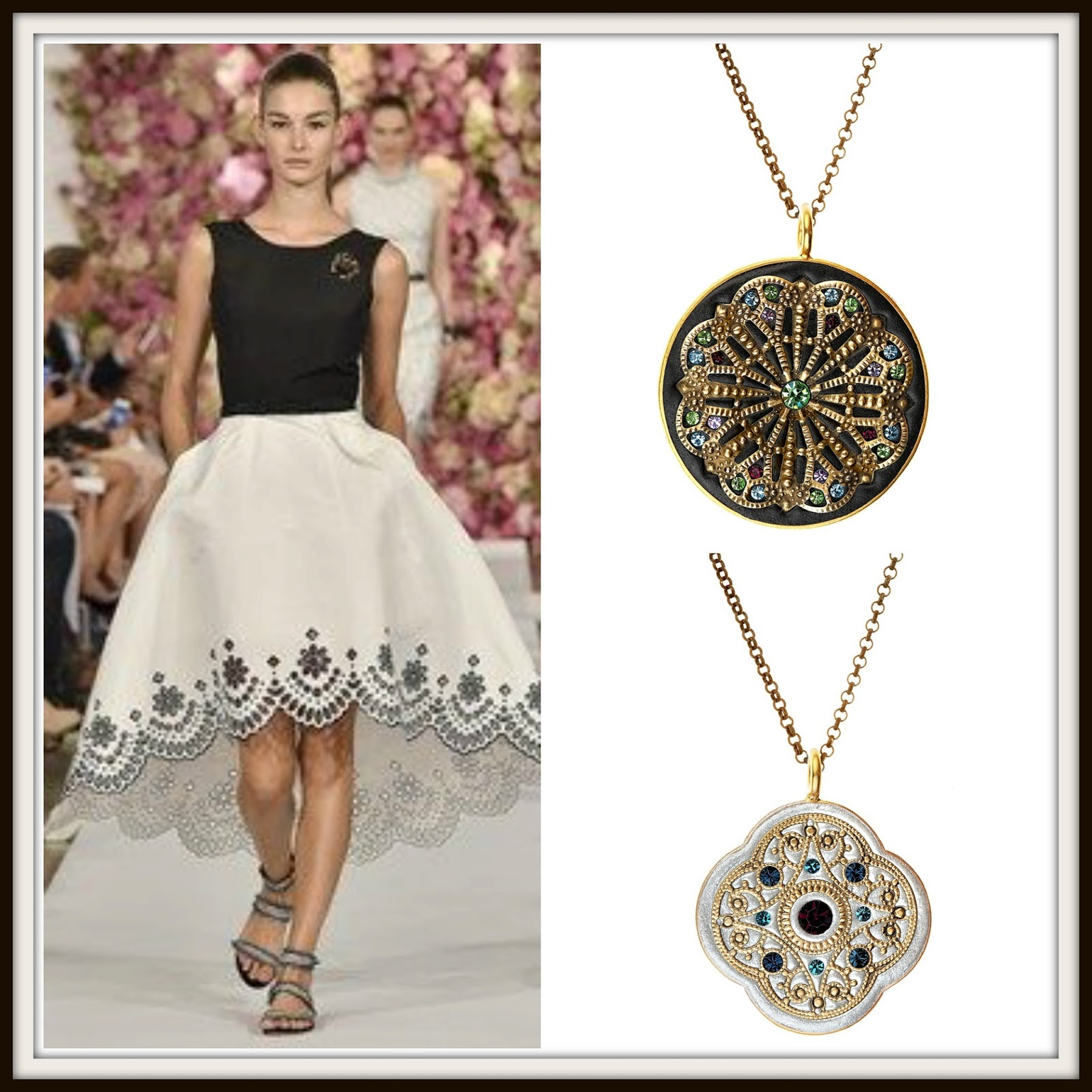 LFW2015, NYFW2015, Oscar de la Renta, black, white, monochrome, black jewelry, white jewelry, statement pendants