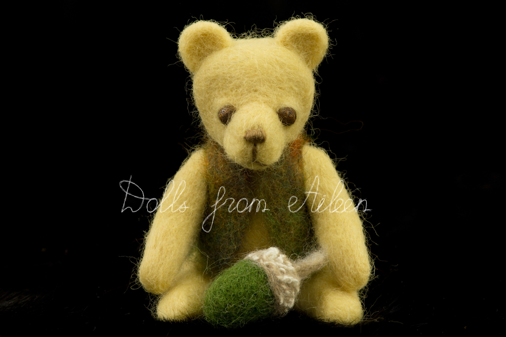 ooak needle felted teddy bear and acorn