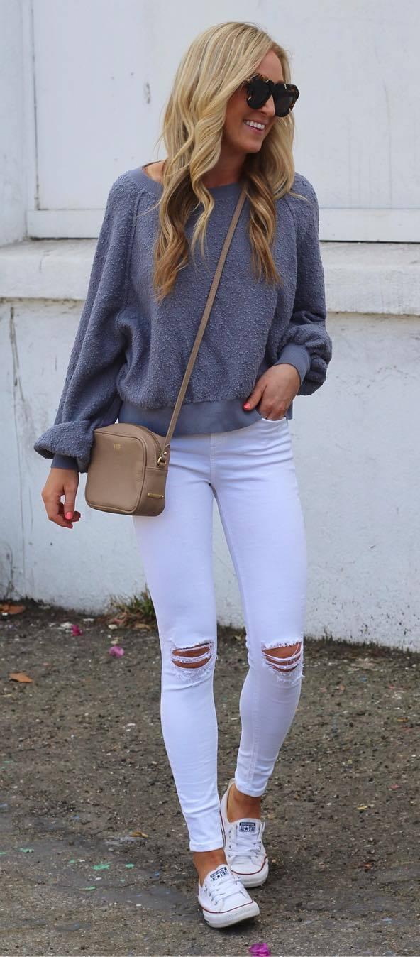 casual style obsession + sweatshirt + rips + bag
