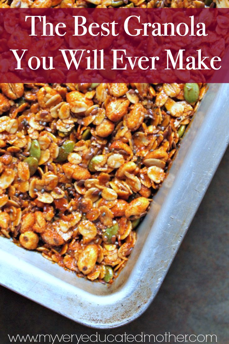 Don't be intimidated by the long list of ingredients, if I can find it in a rural Wal-Mart I'm sure you can too! This granola is so delicious and filled with good foods!