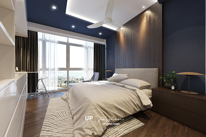 twins damansara heights condo master bedroom bedhead wall in dark blue color paint finish match with wood texture bedhead for a nature and bold style