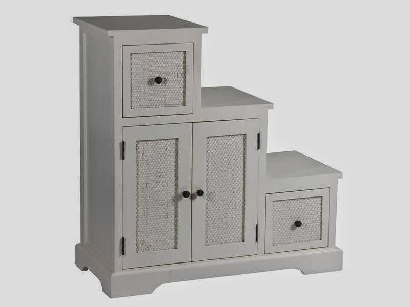 mueble escalera rattan en blanco, mueble cajones puertas