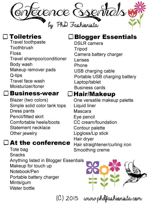 20 Conference Essentials A packing list! - PhD Fashionista - packing list