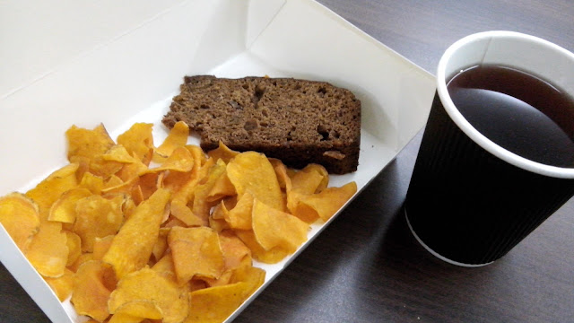 Brewed coffee, um I kinda forgot but I think it's kamote chips and banana bread.