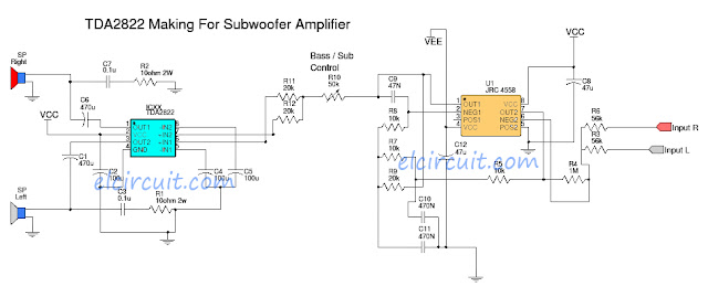 TDA2822 make for Subwoofer Power Amplifier