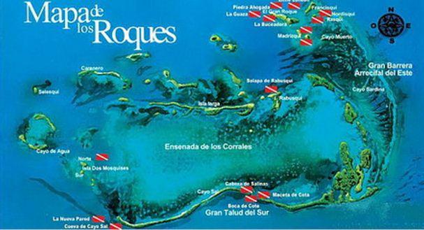 Mapa de los Roques y sus islas. Mapa de los cayos de los Roques.
