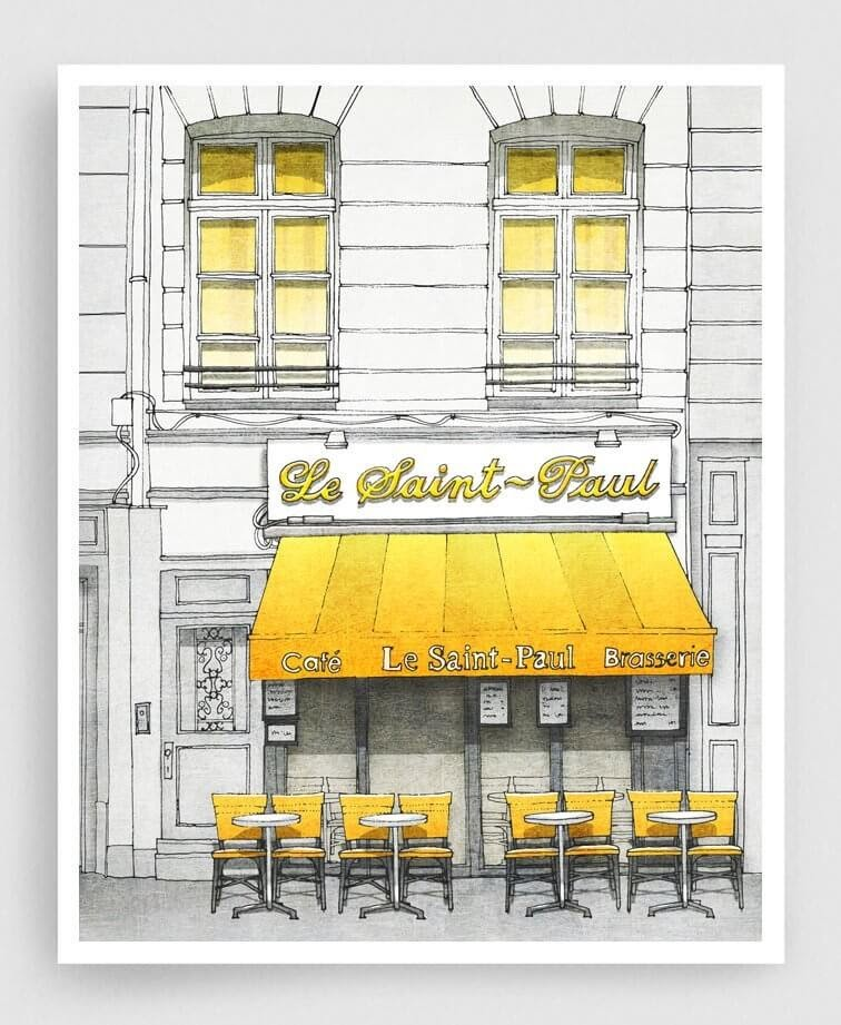 07-Le-Saint-Paul-Café-Yellow-Brigitta-Paris-Illustrations-Colorful-Architecture-www-designstack-co
