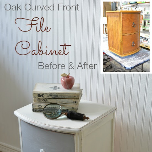 Oak Curved Two-Drawer Wood File Cabinet Makeover