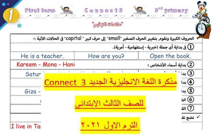 مذكرة اللغة الانجليزية Connect  3 للصف الثالث الابتدائي الترم الاول 2021  مستر صلاح عبد السلام