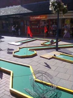 A Minigolf & Games temporary layout at the Garden Square shopping centre in Letchworth Garden City