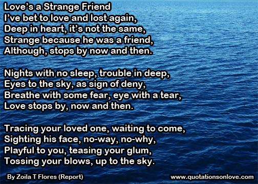 Love's a Strange Friend. By Zoila T Flores (Report)
