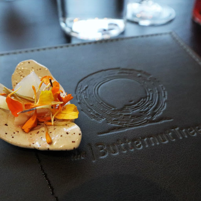 Amuse bouche in a heart shaped pottery on the Butternut Tree menu