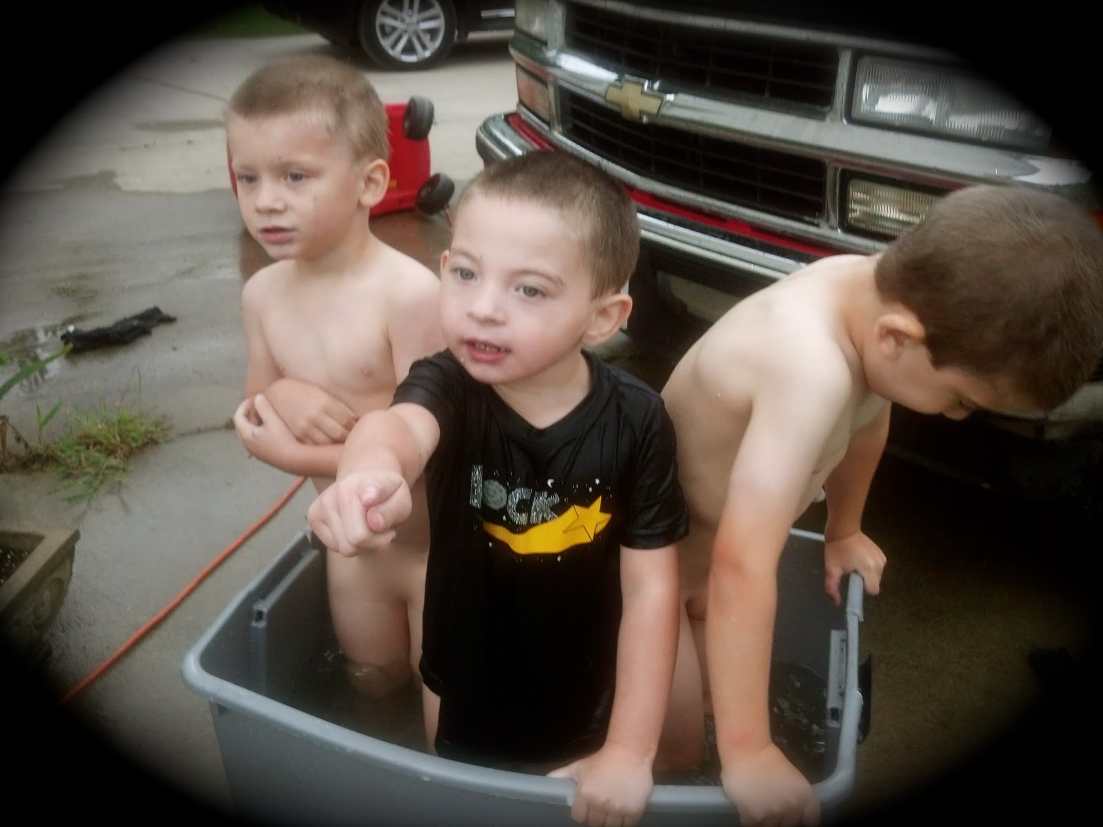 Rub-A-Dub Dub... 3 boys in a tub.
