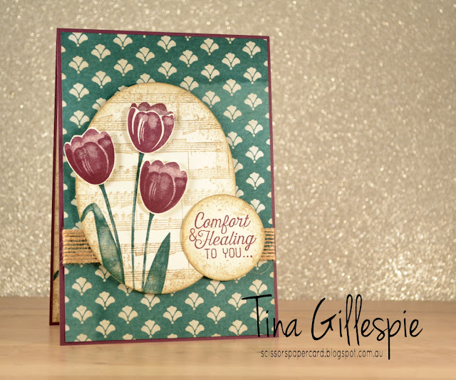 Stampin' Up!, scissorspapercard, Fresh Florals DSP, Sheet Music, Flourishing Phrases, Tranquil Tulips, Timeless Textures