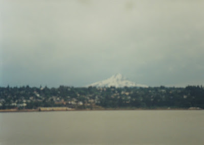 View of Mount Hood and Hood River, Oregon, from near Hood, Washington, on July 23, 1999
