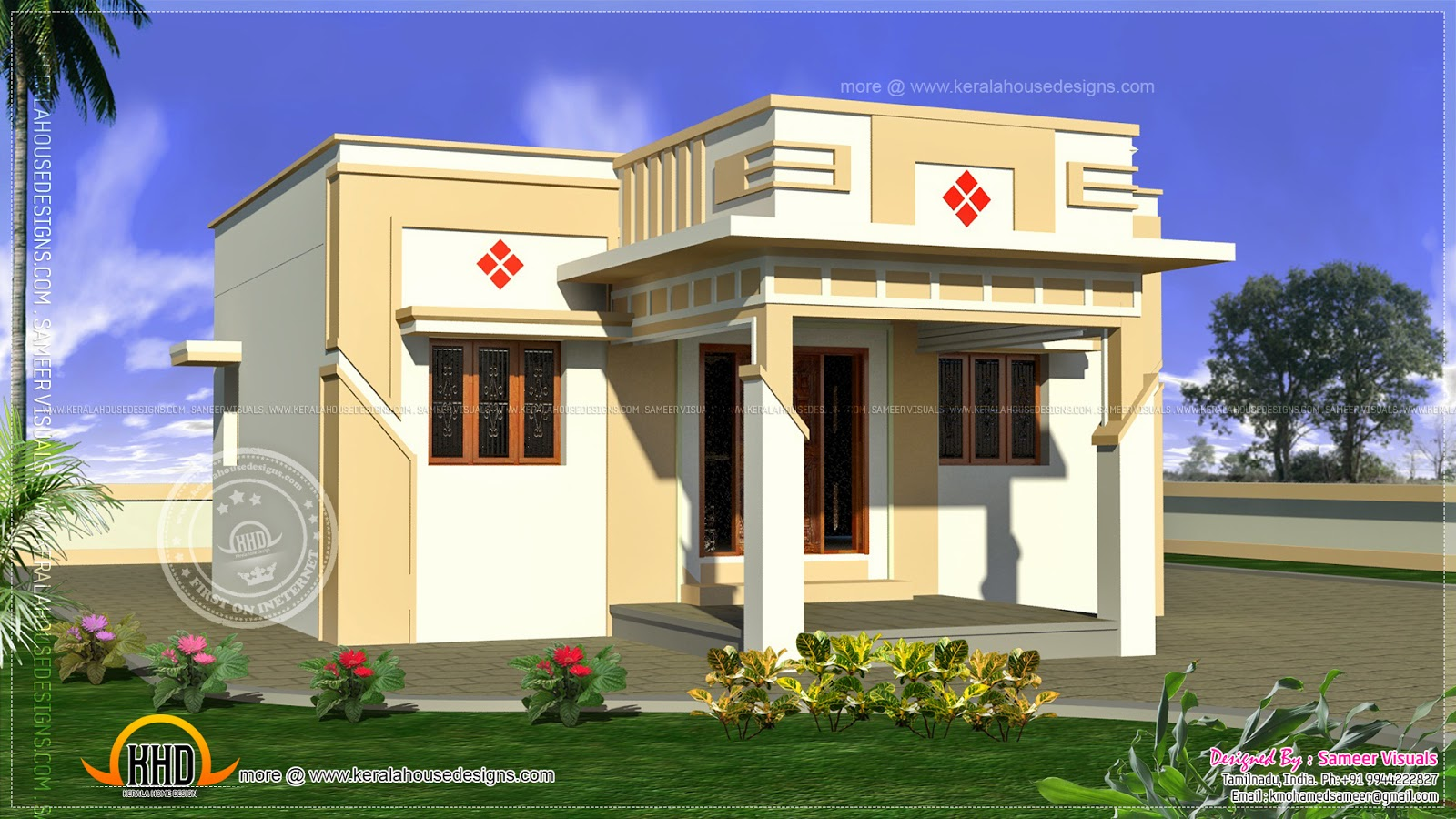 Low cost tamilnadu house kerala home design and floor plans for 2 bhk house plans south indian style