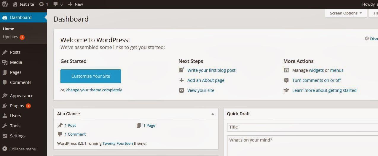 dashboardadminwordpress Tutorial membuat website dengan wordpress selfhosted Gratis