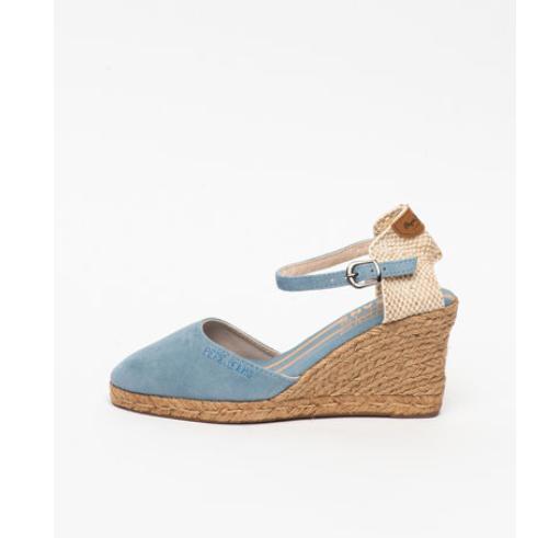 Sandale wedge de piele intoarsa albastre cu platforma Pepe Jeans London