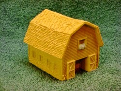 NST4040 Cow barn with open doors, gambrel style roof.