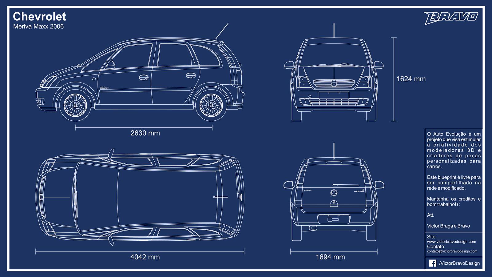 Imagem mostrando o desenho do blueprint Chevrolet Meriva Maxx 2006