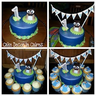 Setting up Owl themed Birthday Cake tutorial with Fondant Bunting flags.