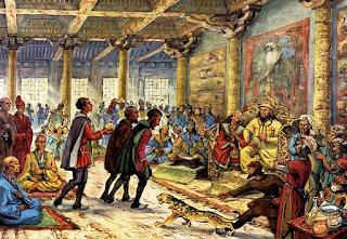 Los tres Polo presentando sus repetos al emperador Kublai Kan.