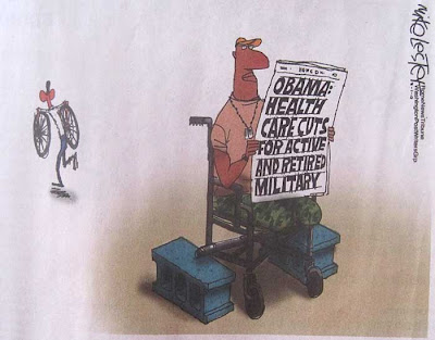 Cartoon showing an African-American veteran with no lower legs sitting in a wheelchair. Back wheels are missing, up on blocks. Reading a newspaper about Obama cutting benefits to military. In background, Obama is running away with the wheels