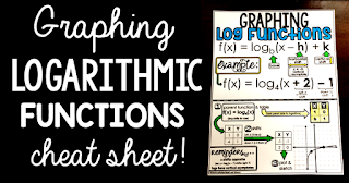 Do your students struggle to graph logarithmic functions? This free pdf printable cheat sheet walks Algebra 2 students through the steps of graphing a logarithm. It's a great sheet to hand out  during a logarithms unit for students notebooks or to enlarge for a bulletin board.