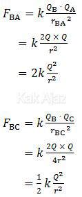 Besar gaya Coulomb pada muatan B