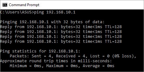 Test konektivitas dari client ke server