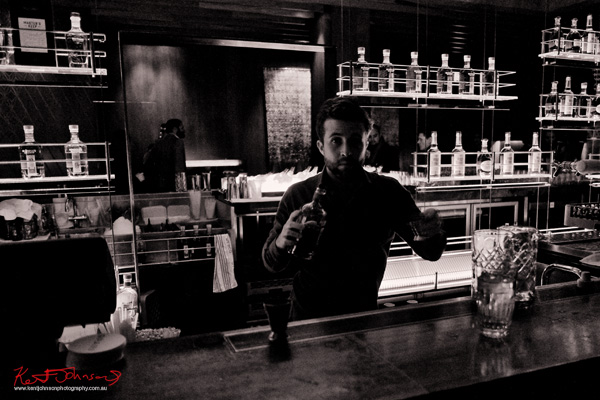 Barman in action, Russell's Reserve 10 Year Bourbon at Grain Bar Sydney Photo by Kent Johnson for Street Fashion Sydney.