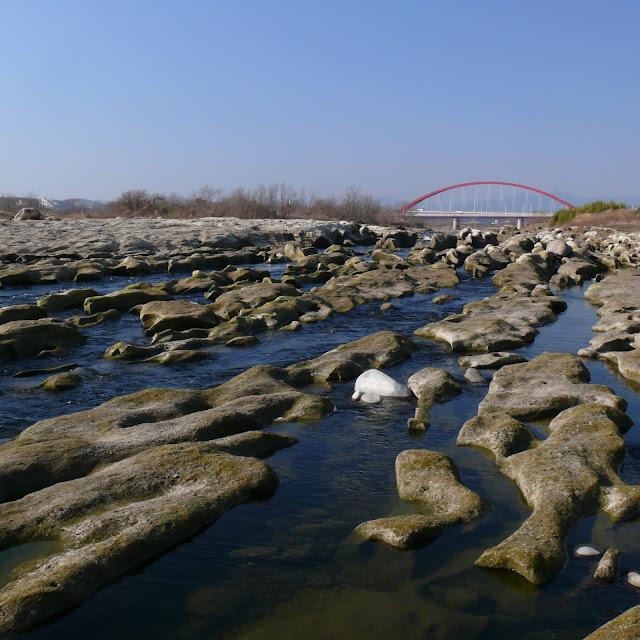 多摩川サイクリングロード 多摩大橋 鬼の洗濯岩