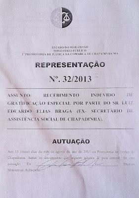 Promotoria de Chapadinha - Representação contra Eduardo Braga