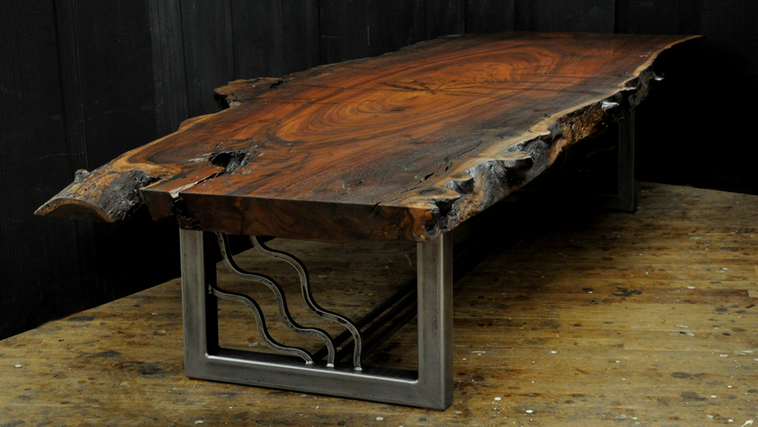 A Live Edge Claro Walnut Slab Coffee Table