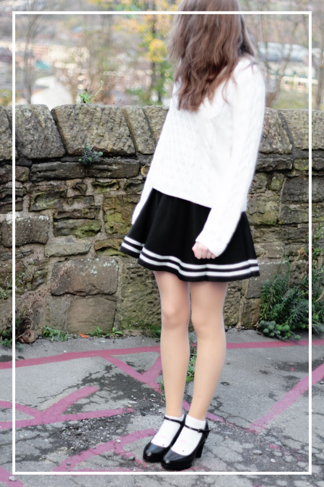 cute winter ootd monochrome sailor skirt