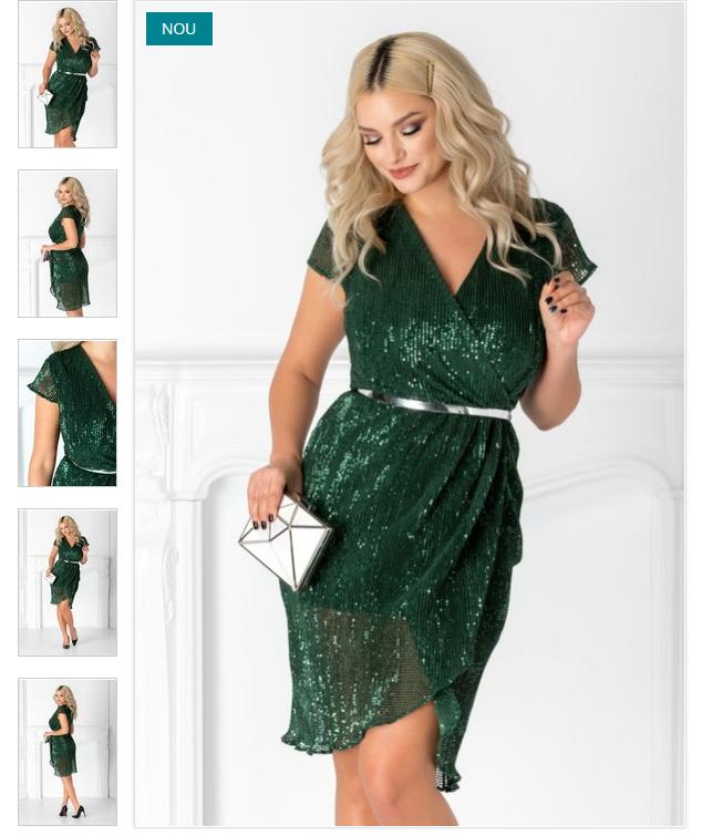 rochie verde de ocazie  textura din paiete  croi petrecut