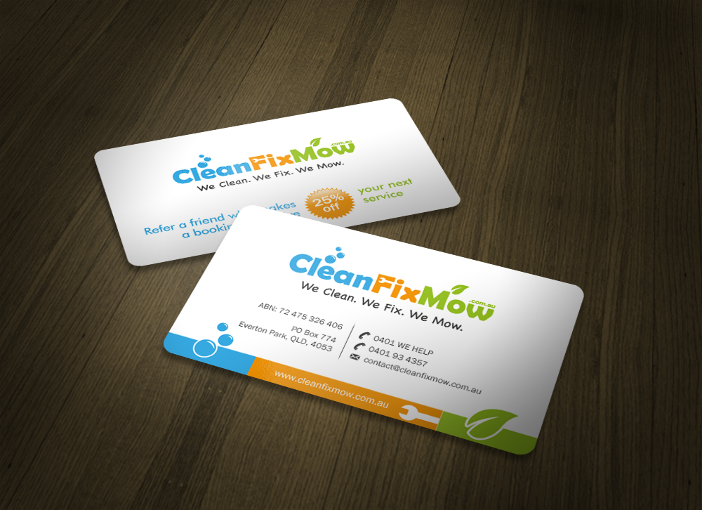 Clean Fix Mow Business Card - Gexton Graphics