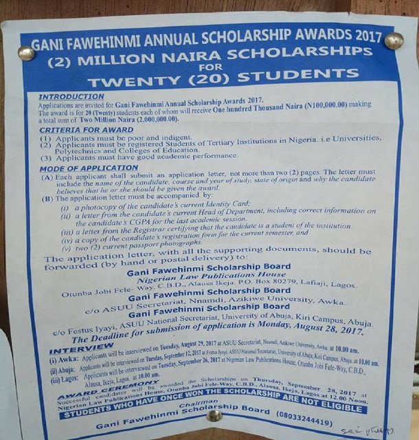 Niied scholarship 2017 application form