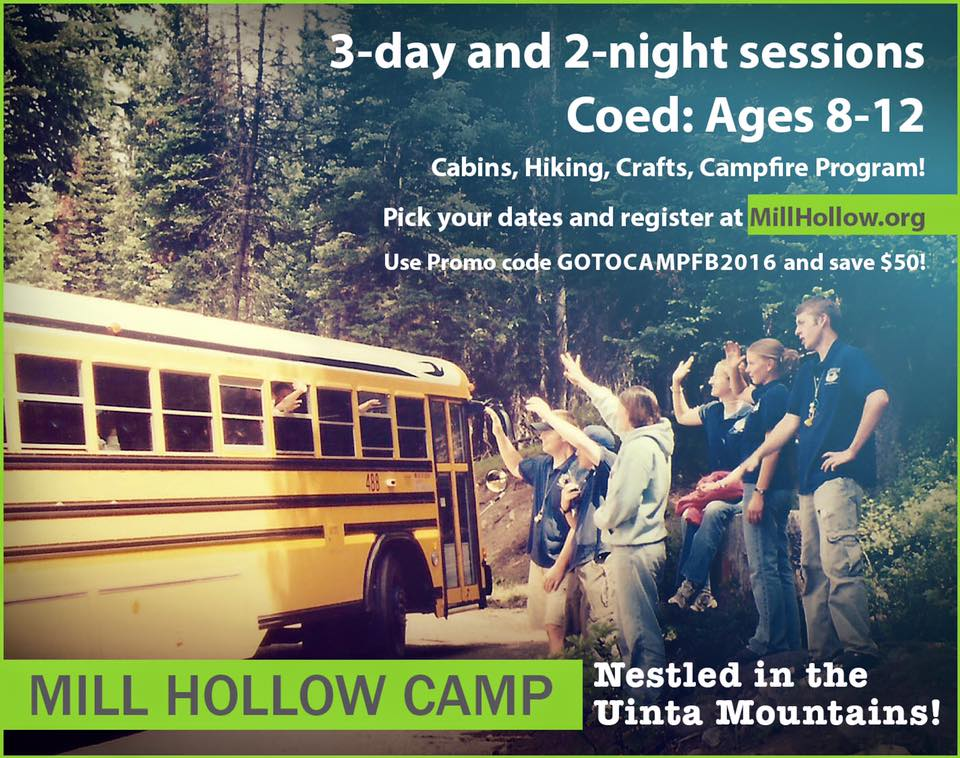 Enjoy utah discount mill hollow summer camp for Valley mill summer camp