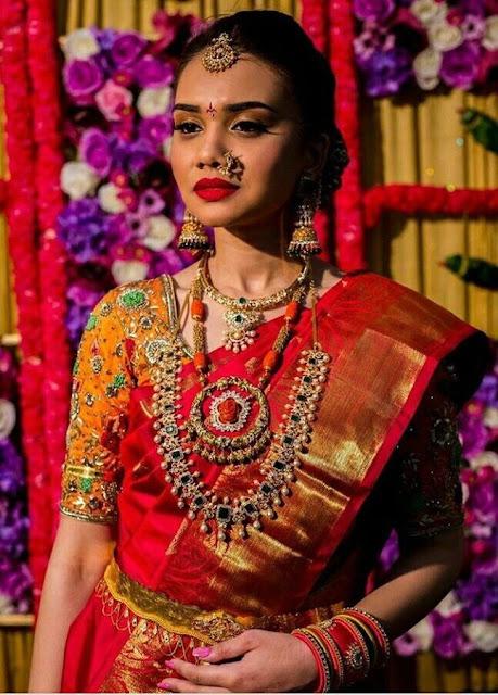 Bride in Diamond Emerald Set Coral Beads Set