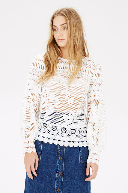 white open work top, white long sleeve lace top, warehouse white long sleeve top,