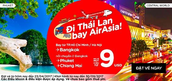 Đi Thái Lan bay Air Asia giá rẻ chỉ từ 9 USD