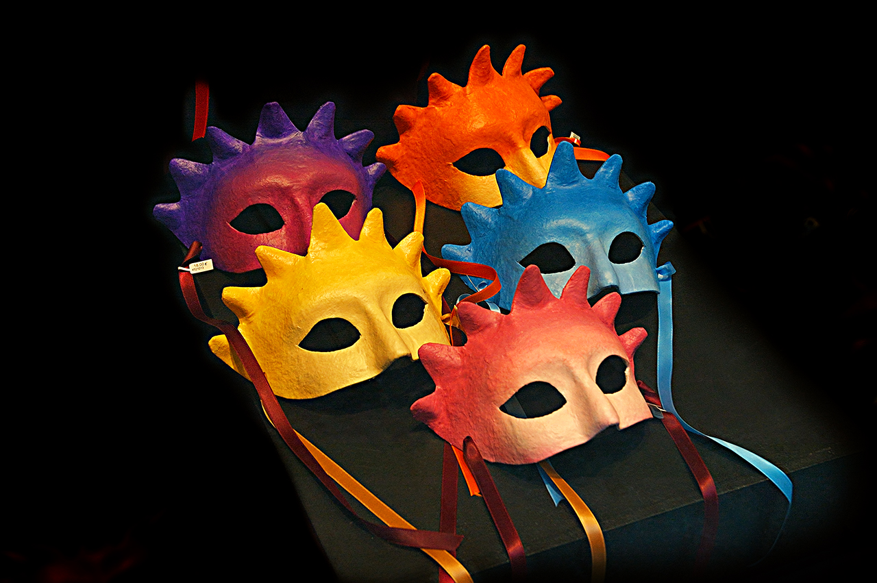 Multicolored Carnival Masks in Barcelona