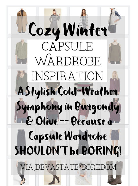 Easy and cute!  Cold weather capsule wardrobe outfit inspiration -- mix-and-match ideas for a cozy curated closet!  Style and fashion advice for a colorful minimalist winter wardrobe, via Devastate Boredom