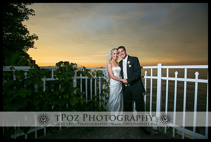 Sunset photo of bride groom Kurtz's Beach Wedding