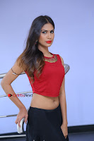 Telugu Actress Nishi Ganda Stills in Red Blouse and Black Skirt at Tik Tak Telugu Movie Audio Launch .COM 0217.JPG