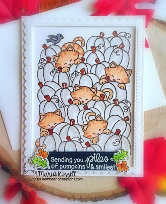 Cats in Pumpkin Patch Card by Maria Russell | Newton's Pumpkin Patch Stamp Set by Newton's Nook Designs #newtonsnook
