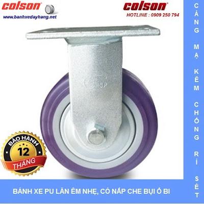 Bánh xe PU Colson có nắp che bụi chịu lực cho xe đẩy vải sợi tại Nhơn Trạch www.banhxepu.net